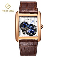 PRINCE GERA Classical Rectangle Genuine Leather Automatic Watch For Men Rose Gold Sapphire Glass Scratchproof Luxury Men Watch