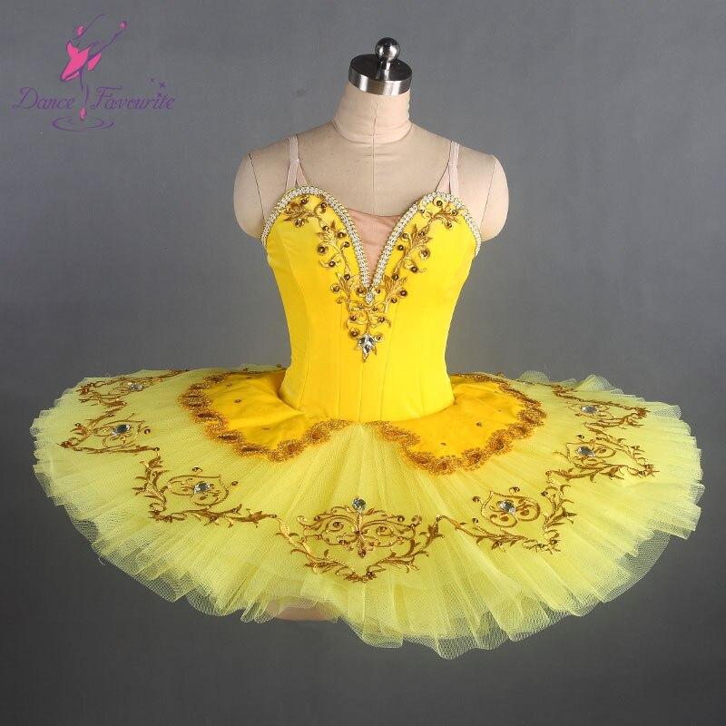 Stunning yellow classical ballet tutu girl stage performance pancake ballet tutu ballerina dance costume women girl ballet tutu