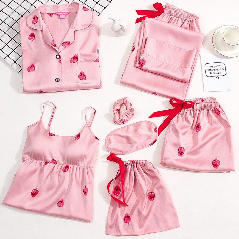 7 Pcs Set Ladies Pyjama Set 2019 Pajamas 7 Pieces for Women Nightwear Sleep Clothes Suit