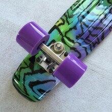 """22 """"couleur brillante mixte Skate Cruiser planche en plastique Style rétro banane planche à roulettes lumière Mini Longboard de bonne qualité"""
