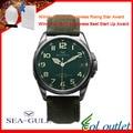 Homens gaivota D813.581 relógio Militar Luminous Sapphire Dial Couro Genuíno
