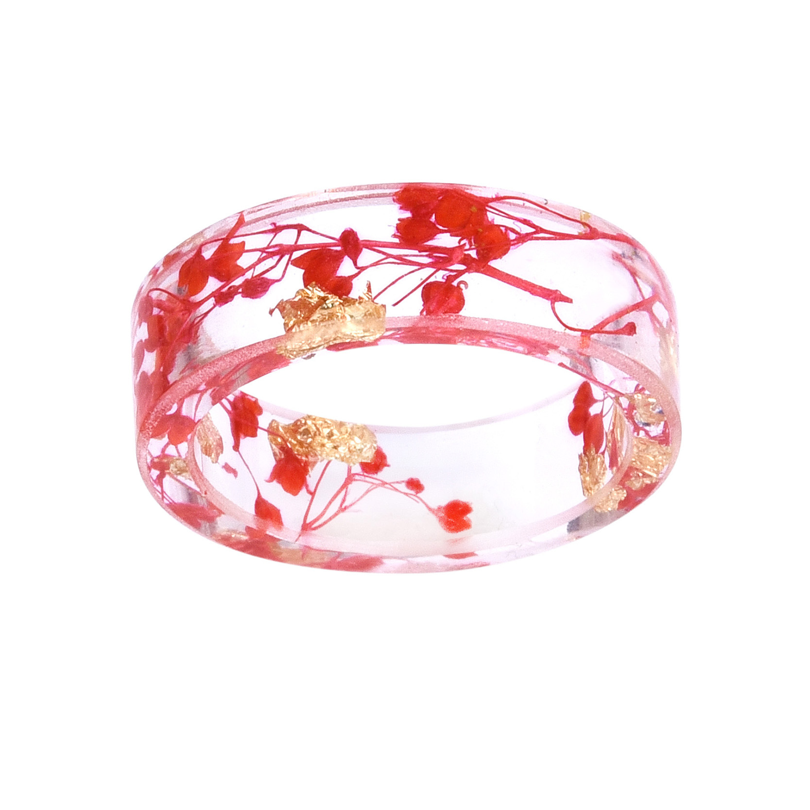 DIY Gifts Red Flower Rings Romantic Transparent Resin Women Men ...