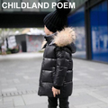 2017 Children Parka Down Cold Winter Boys Casual Coats Duck Down Filling Thick Fur Hooded Kids Winter Jacket For Girls Outerwear