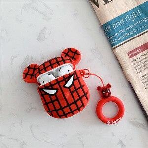 Image 3 - Étui de protection de bande dessinée pour AirPods couverture mignonne Silicone Bluetooth étui pour écouteurs pour Apple Airpods 2 anneau de doigt Camouflage ours