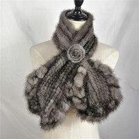 Real Mink Fur Scarves for Women Winter Genuine Knitting Fur Elegant Scarf&Shawl Fur Russian Real Fur Scarf New 2018