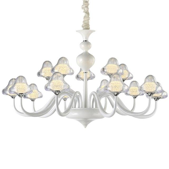 Neue Moderne FÜHRTE Pilz Kronleuchter Beleuchtung Weiß Und Chrom Licht Glas  Lampenschirm Lampe Für Wohnzimmer Esszimmer
