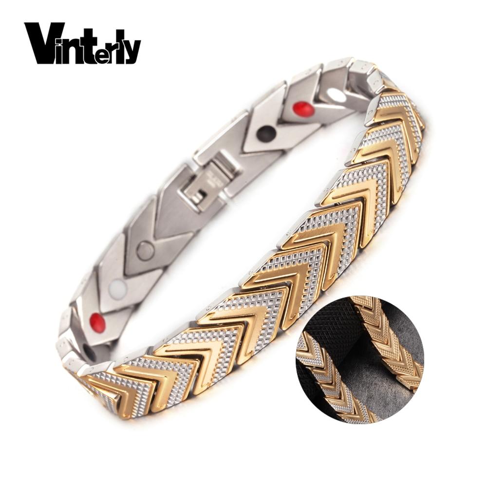 Vinterly Energy Magnetic Bracelet Bangles for Women Men Chain Link Stainless Steel Bracele