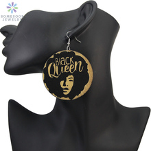 SOMESOOR Black Queen Carved African Natural Wooden Drop Earrings 6cm Large Size Customized AFRO Jewelry For Women Girl's Gift