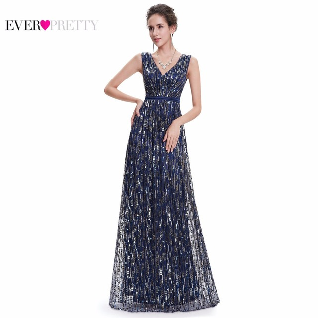 Vestidos Sempre Bonitas EP08669NB Mulheres Elegante Sexy Lindo Azul Marinho Com Decote Em V Longo Vestidos de Baile 2017 Nova