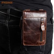 PNDME vintage genuine leather mens waist packs handmade simple top layer cowhide light shoulder crossbody bags small square bag