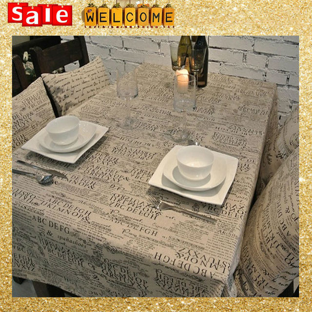 Long Travel Picnic Table Cover Linen Cotton Letter Newspaper Wedding - Huge picnic table