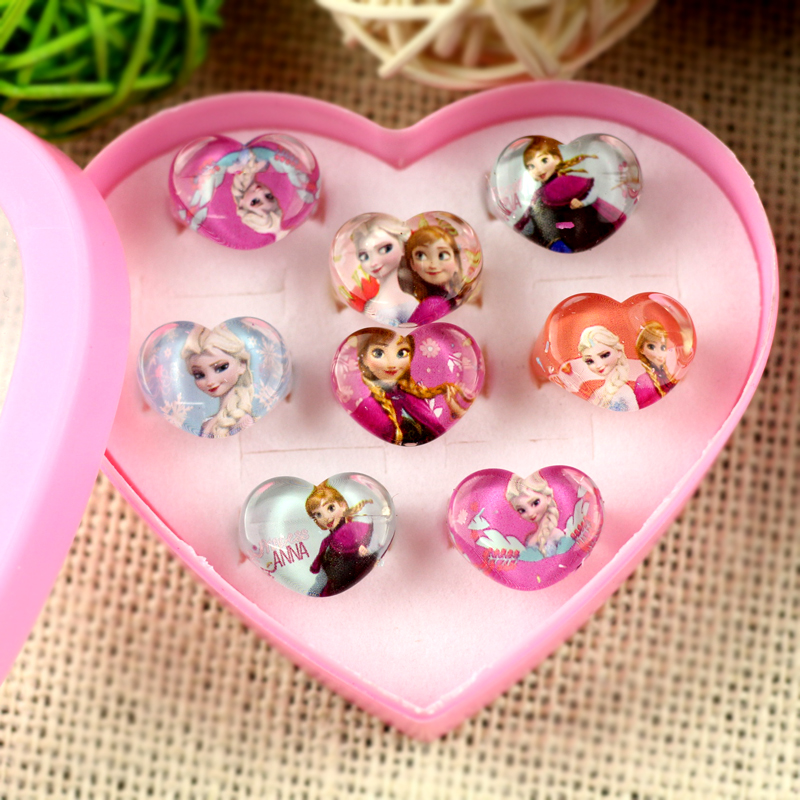 Box for 8Pcs Girl gift Cartoon toy Rings Wholesale Jewellery Mix Lots Lovely kinds Princess Anna Pretty Ring Party Supplies