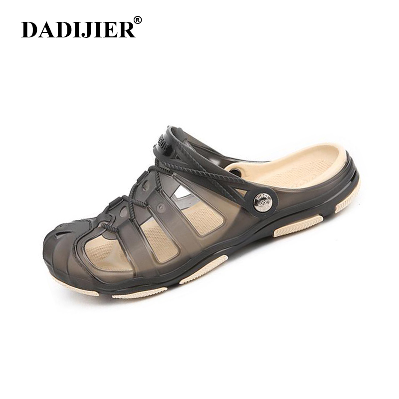 DADIJIER 2018 Men's Sandals Summer half Slippers Fashion Man Casual High quality Soft Beach Shoes Flat Axoid Jelly sandals ST272