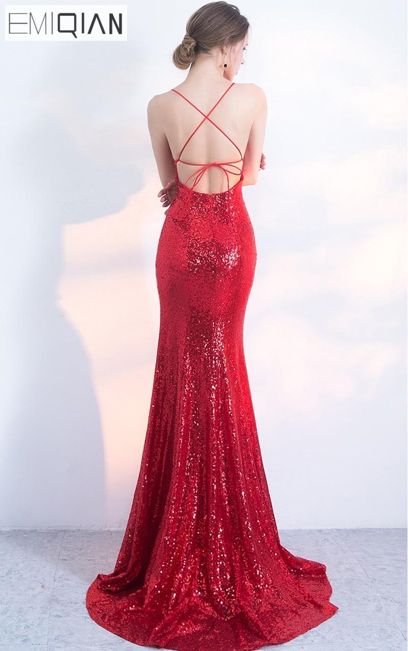 NOVO Designer Red Sequin Formal Prom Party haljina Spaghetti remen - Haljina za posebne prigode - Foto 3
