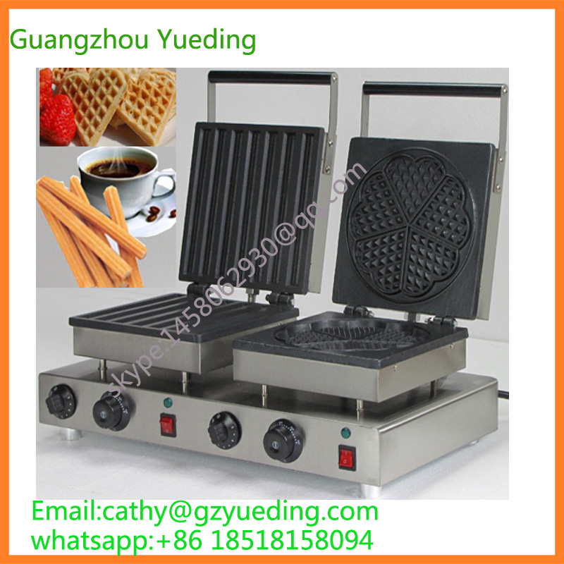 Electric double head lolly waffle and heart-shape waffle machine maker economic and elegance waffle maker machine baker doulbe head electric churros with bar shaped and popsicle