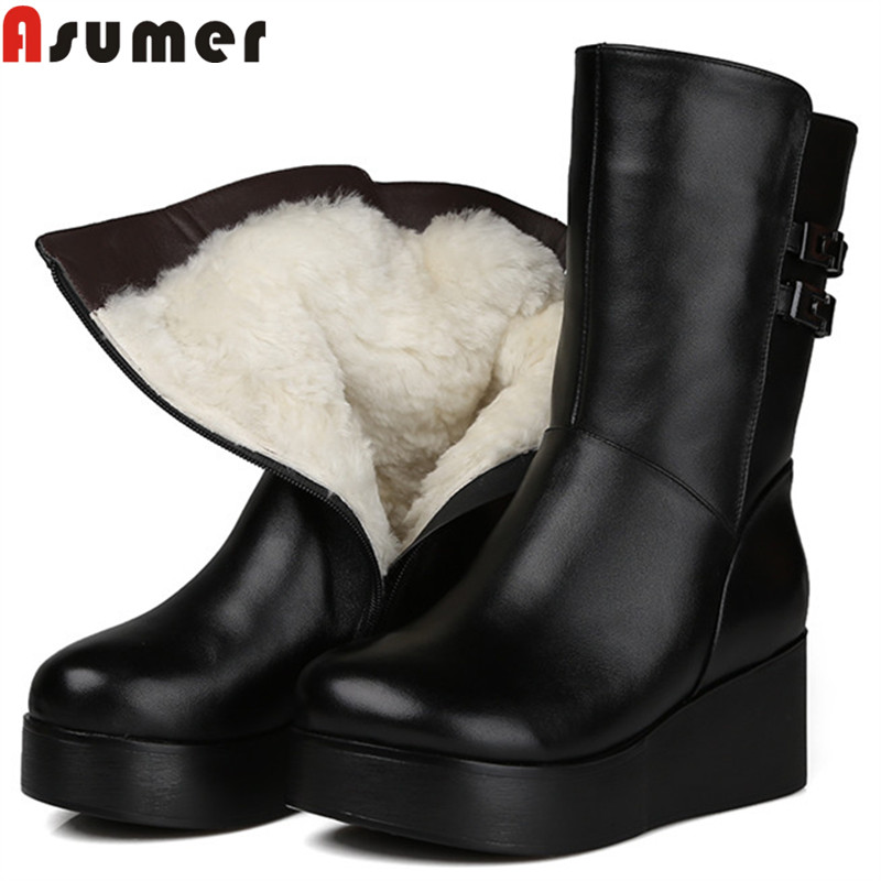 ASUMER 2018 new mid calf boots for women round toe zip pu+cow leather boots platform wedges shoes keep warm winter snow boots