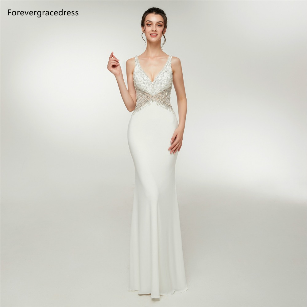 Forevergracedress Sexy Deep V Neck   Prom     Dresses   2019 Mermaid Beading Sleeveless Formal Party Gowns Plus Size Custom Made