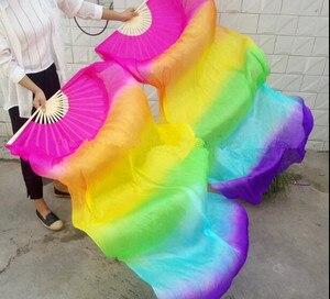 Image 2 - Neue Kinder Frauen 1 Paar 100% Seide Lange Bauchtanz Fan Schleier Elegante Farbverlauf Günstige Förderung 120cm 150cm 180cm
