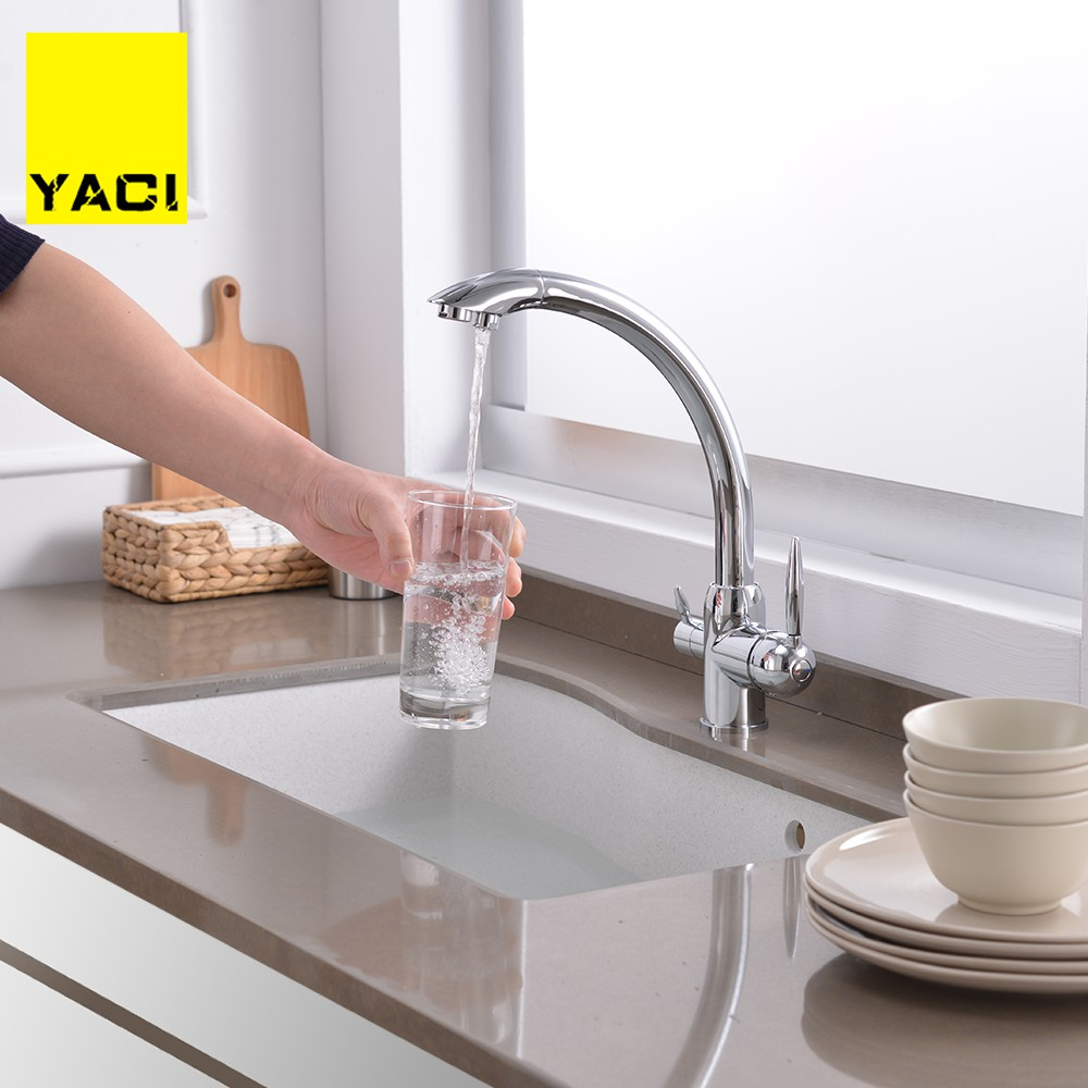 YACI New Arrival Kitchen Faucet Deck Mounted Mixer Tap 180 Degree Rotation With Water Purification Modern Faucet Features Nickle