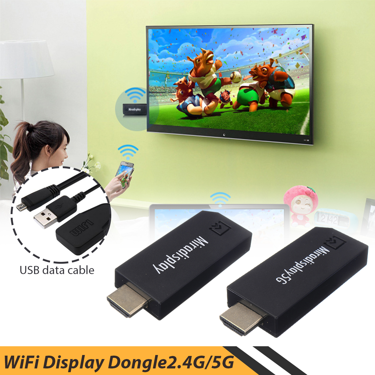 2.4G/5G wireless WiFi Display Dongle HDMI Support for Miracast/Dlna/Airplay Mobile computer multi-screen interaction
