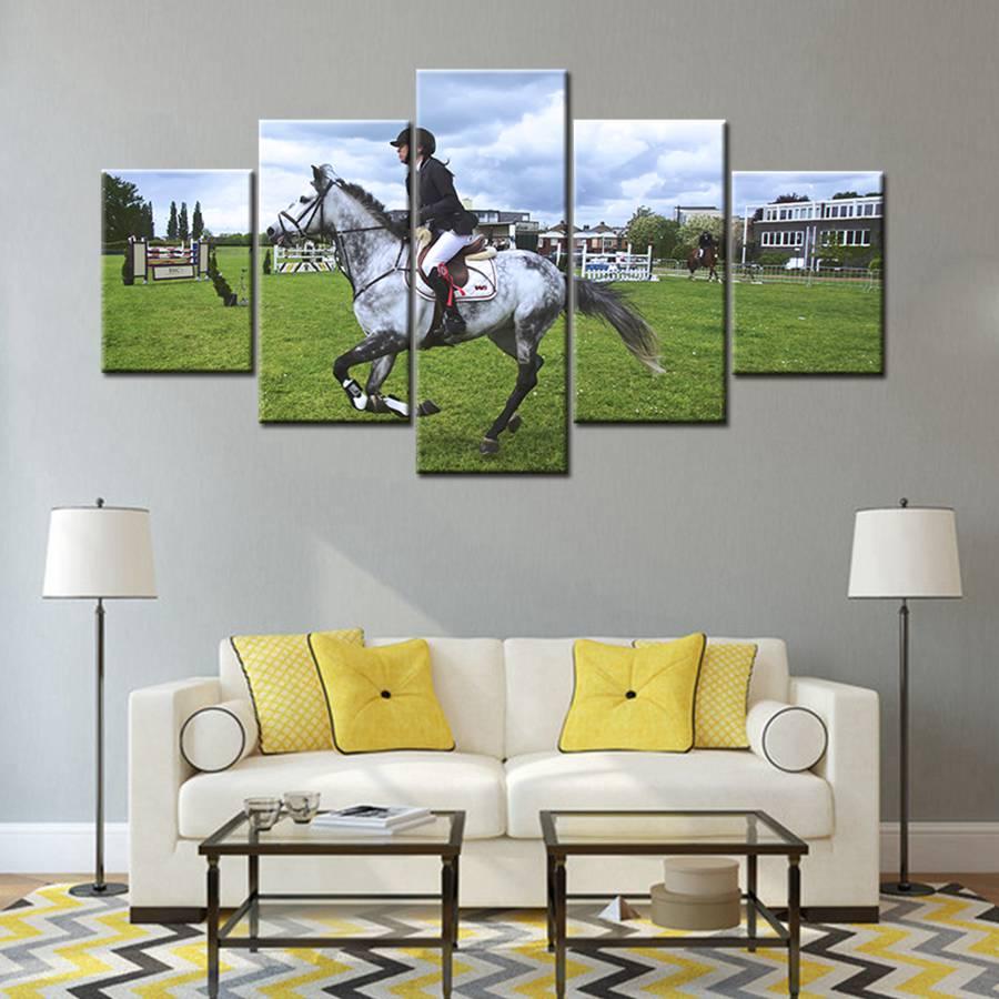 €19.19 19% de DESCUENTOLienzo de arte de pared impresiones ecuestre  elegancia caballo hermoso paisaje animales cuadro lienzo pintura para  decoración