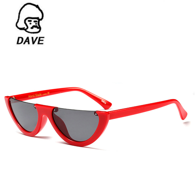 d77bb07a348 DAVE Half Frame Cat Eye Sunglasses Women Brand Designer Flat Top Vintage Me  Sunglasses Female Cool Trendy Eyewear Shades UV400