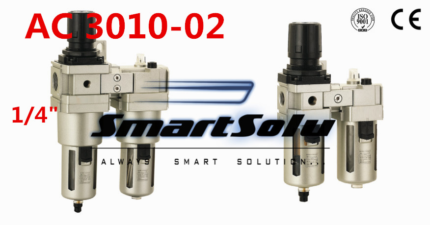 Free ShippingPneumatic FRL Combination air filter pressure regulator and lubricator AC3010-02 1/4 inch Manual drain  typeFree ShippingPneumatic FRL Combination air filter pressure regulator and lubricator AC3010-02 1/4 inch Manual drain  type