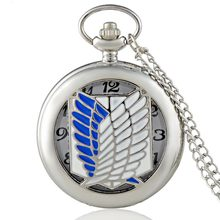 Fashion Silver Attack on Titan Quartz Pocket Watch with Chai
