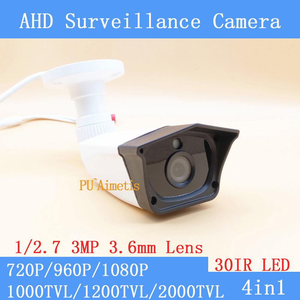 AHD High Definition Surveillance Camera 720P/960P/1080P AHD Camera CCTV 3MP 3.6mm Lens  Outdoor IR Cut Filter 30 IR LEDS Plastic