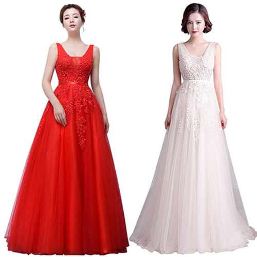 Patchwork Longue Soirée blanc rouge Partie Bal cou Femmes Appliques Robe Mariage Dames Bleu Dentelle V De Femelle Robes Pwk8XO0n