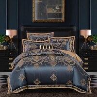 2019 New Luxury Silk Jacquard Duvet Cover set 4/6Pcs Queen king size Bedding Set Ultra Soft Cotton Bedsheet linen set Pillowcase