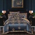 2019 nuevo juego de edredón de seda Jacquard de lujo 4/6 piezas Juego de ropa de cama de tamaño Queen king Ultra suave de algodón sábana de lino conjunto de funda de almohada