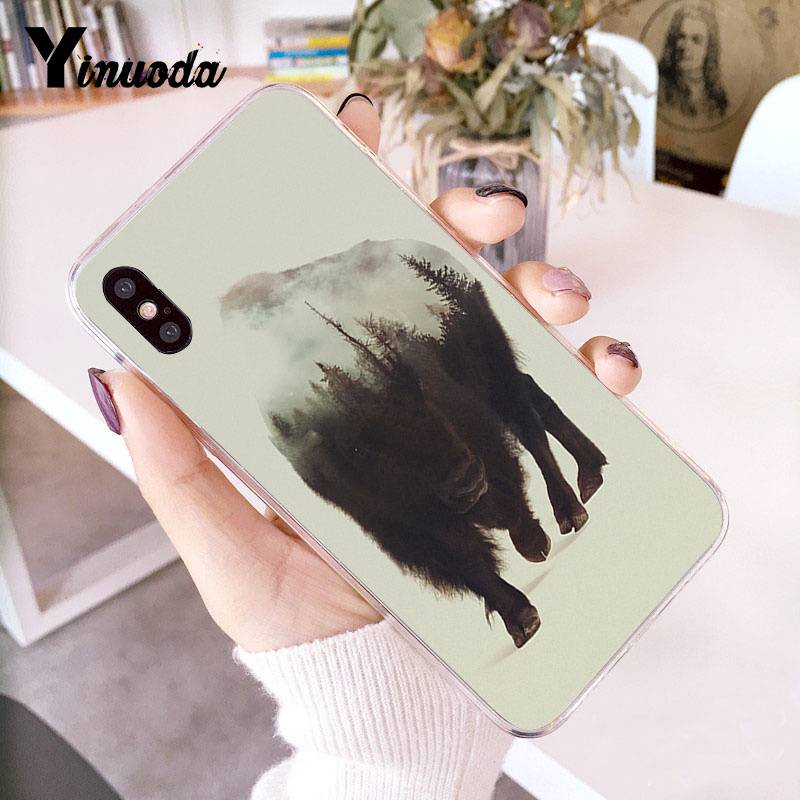 Yinuoda Animal Double Exposure Wolf Bear Deer Wild Boar Transparent Phone Case For Iphone X 6 6s 7 7plus 8 8plus 5s Xr Xs Xsmax