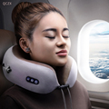 QCZX Travel U-shaped Pillow Vibration Kneading Massage Cervical Pillow Portable Waist Shoulder Electric Massage Pillow D30