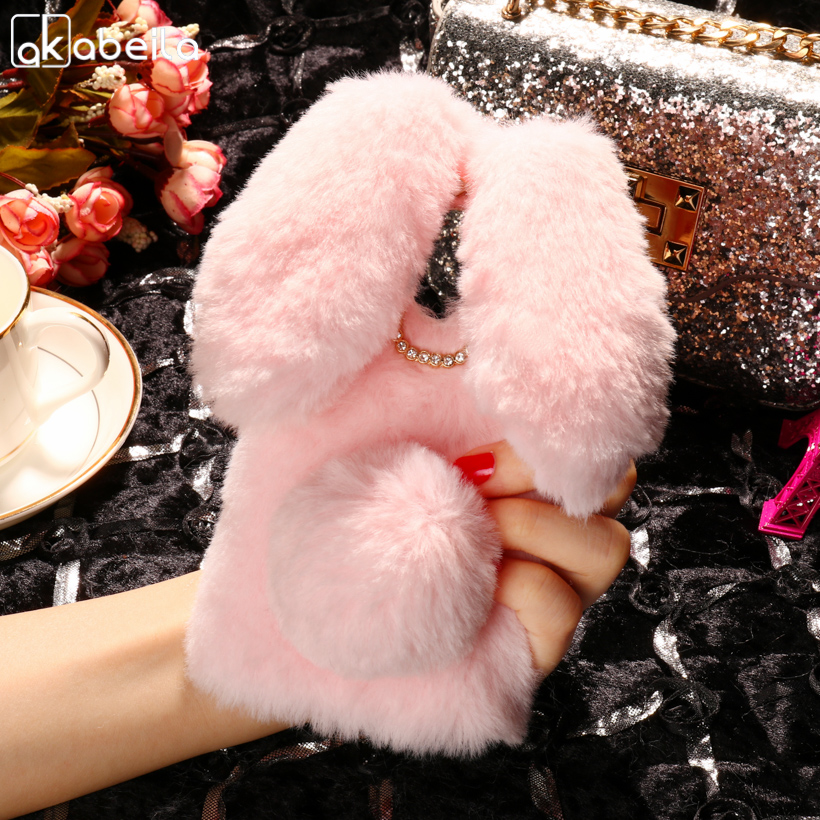 AKABEILA Luxury Rabbit Style Fluffy Warm Fur Cases For Wileyfox Swift 2 Case Soft Funda Swift2 Swift 2 Plus Cover X50 5.0 inch