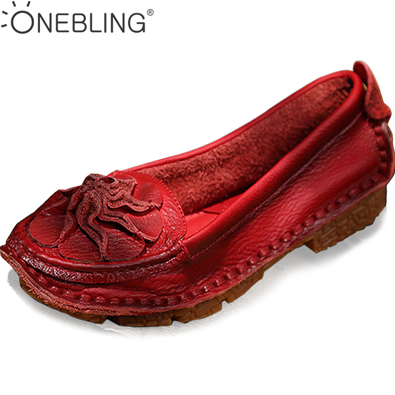ONEBLING Loafers 2017 Spring Autumn Fashion Genuine Leather Flower Women Single Shoes Casual Flat Shoes Soft Slip-on Lazy Shoes 95mm 66m single face adhesive insulating mylar tape for transformers fireproof white