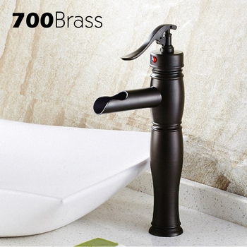 Luxury Black ORB High Arc Bathroom Faucet Single Hole Single Holder Deck Mounted Basin Faucet Hot And Cold Bathroom Accessories