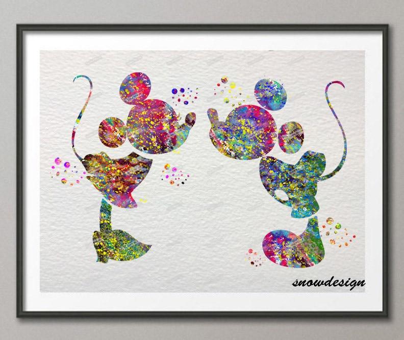 Original Watercolor Mickey Minnie Kiss Wall Art Canvas