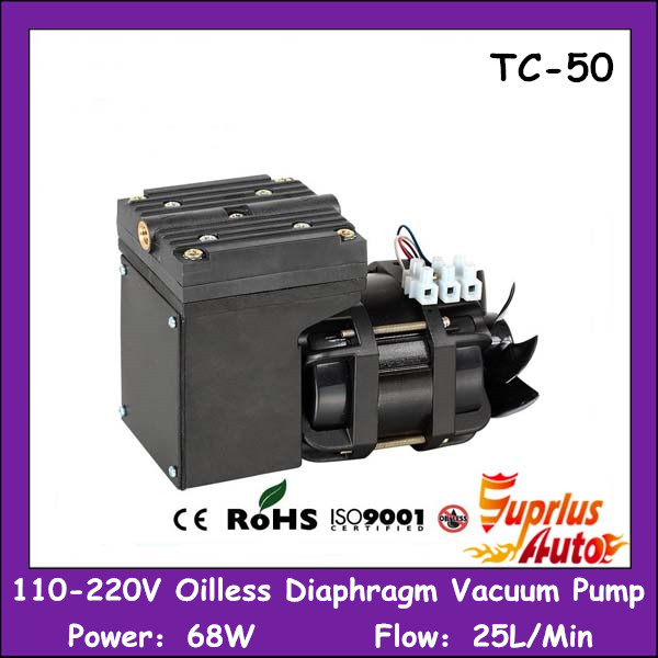 AC 110-220V 68W Power 25L/Min Flow Mini Electric Air Single Stage Oil-Free Diaphragm Vacuum Pump manka care 110v 220v ac 33l min 80 w oil free diaphragm vacuum pump silent pumps oil less oil free compressing pump