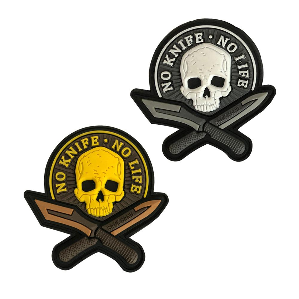 MAMAO 3D PVC Morale Patches No Knife No Life SKULL Military Tactical Patch badge applique Hook&backing Black and yellow