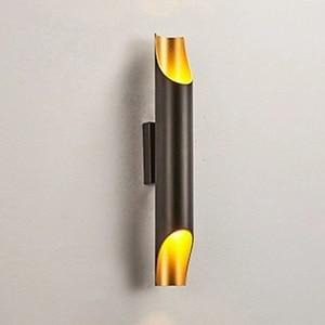 Image 3 - זהב נורדי פוסט מודרני קיר מנורת מינימליסטי יוקרה סגנון מעצב דגם חדר סלון רקע קיר חדר שינה מנורה שליד המיטה