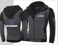 New SCANIA Hoodie Car Personality Color Double Zip Hooded Cardigan Slim Jacket Fashion volvo yamaha Hoodie