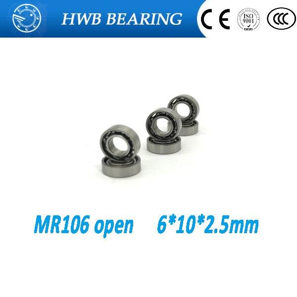 Free Shipping 10 PCS MR106 Open Type Ball Bearings 6x10x2.5 mm Miniature Ball Bearings L-1060 free shipping 10 pcs 684zz 684z 684 bearings 4x9x4 mm miniature ball bearings l 940zz abec5