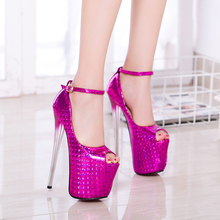 Sexy Blue Gold Hot Pink Women Party Shoes Ultra High Heel Platform Bridal Shoes Peep Toes Ankle Strap Night Club Shoes 6678-1