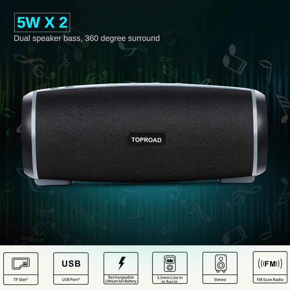 TOPROAD przenośny głośnik bluetooth bezprzewodowy stereofoniczny Soundbox duża moc 10W kolumna subwoofera głośniki wsparcie TF FM Radio USB TWS