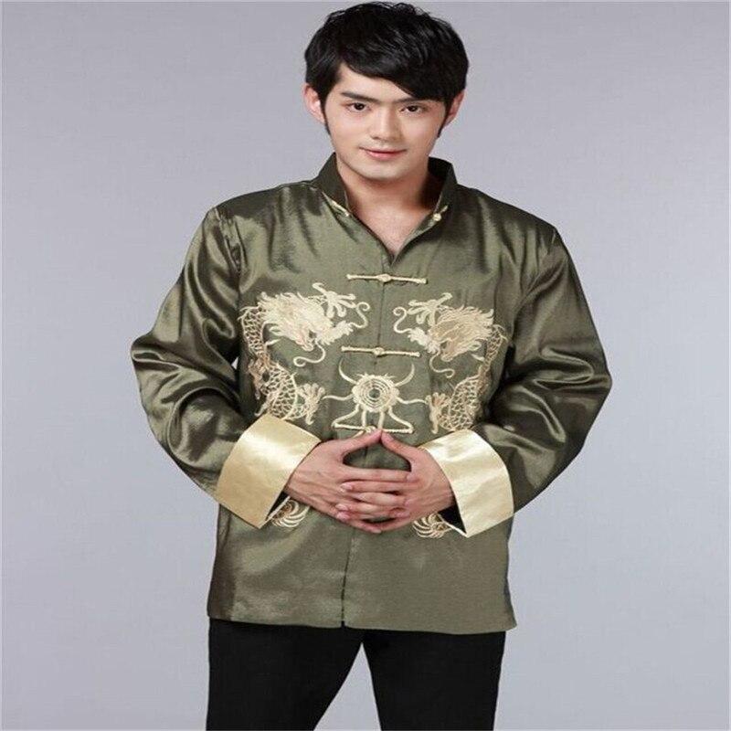 fc963f980a6 Dragon Shirts Men Silk Jackets Mandarin Collar Shirt Plus Size 3XL Wedding  Jacket Long Sleeve Kung Fu Shirt Chinese Tang Tops-in Casual Shirts from  Men's ...
