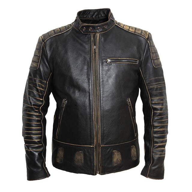 US $187.49 25% OFF|MAPLESTEED Vintage motocykl kurtka mężczyzna skórzana kurtka 100% skóry wołowej prawdziwej kurtki męskie kurtka na rower Moto