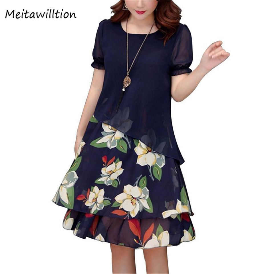 4XL 5XL Summer Chiffon Dress Women Floral Dress 2019 Floral Printed Plus Size Dress For Women Korean Fashion Casual Dresses