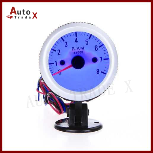 "2"" 52mm Car <font><b>Tachometer</b></font> <font><b>Tach</b></font> RPM <font><b>Gauge</b></font> <font><b>with</b></font> <font><b>Holder</b></font> <font><b>Cup</b></font> <font><b>for</b></font> <font><b>Auto</b></font> Car 0~8000 RPM Blue LED Light 4 6 8 cylinders"