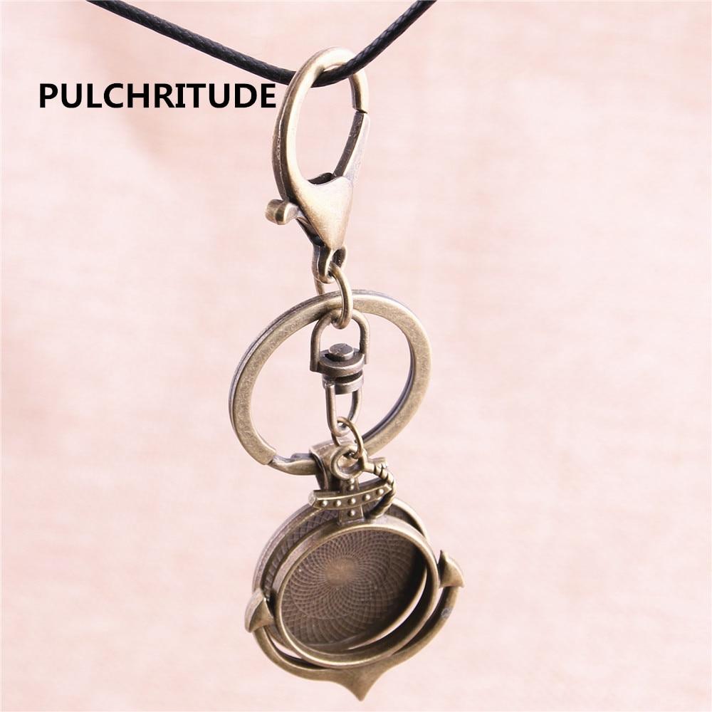 Pulchritude 3 шт. Круглый 25 мм античная бронза камея База ручной работы Камея Установка Металл Руль Якорь лоток брелок доступа y1025